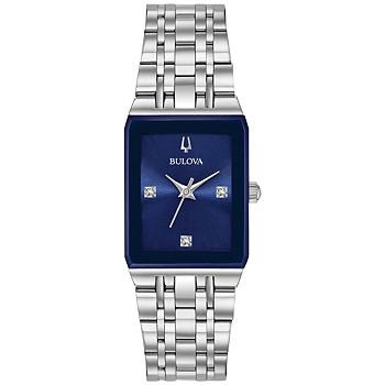 Bulova Women's Futuro Diamond-Accent Stainless Steel Bracelet Watch