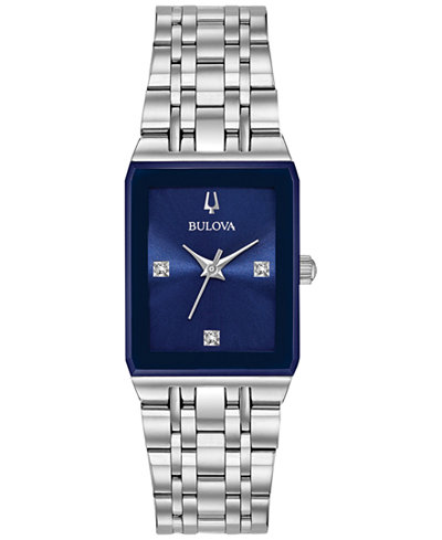 Bulova Women's Diamond-Accent Stainless Steel Bracelet Watch 21x32mm, Created for Macy's