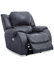 CLOSEOUT! Rinworth Leather Recliner with Articulating Headrest  and USB Power Outlet