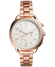 Fossil Women's Tech Accomplice Rose Gold-Tone Stainless Steel Bracelet Hybrid Smart Watch 38x40mm