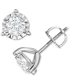 TruMiracle® Diamond Three-Prong Stud Earrings (1-1/4 ct. t.w.) in 14k White Gold