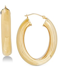 Polished Flex Tube Hoop Earrings in 14k Gold