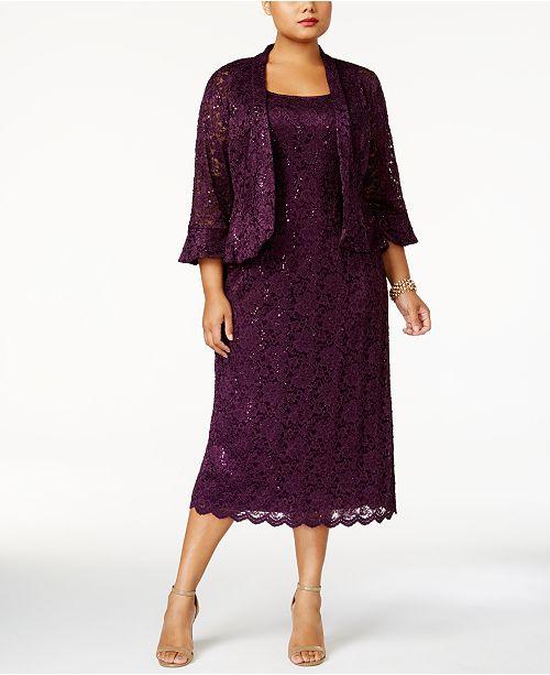 Plus Size Lace Dress & Ruffled Jacket