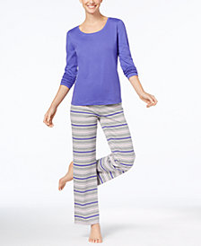 Jenni by Jennifer Moore Knit Top & Printed Pants Pajama Set, Created for Macy's