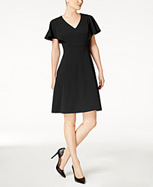 Calvin Klein Flutter Sleeve A-Line Dress