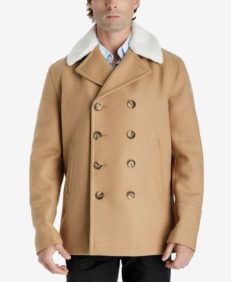 michael kors michael kors men s fleece collar pea coat coats rh macys com