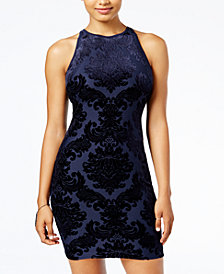 B Darlin Juniors' Flocked Bodycon Dress, Created for Macy's