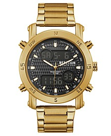 Men's Analog-Digital Sport Gold-Tone Stainless Steel Bracelet Watch 45mm