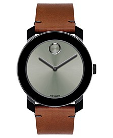 Men's Swiss BOLD Cognac Leather Strap Watch 42mm