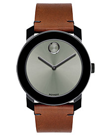 Movado Men's Swiss BOLD Cognac Leather Strap Watch 42mm