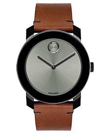 Movado Men's Swiss BOLD Cognac Leather Strap Watch 42mm