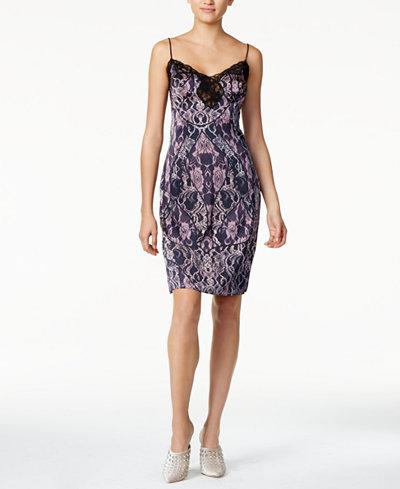 GUESS Serena Lace-Trim Printed Slip Dress
