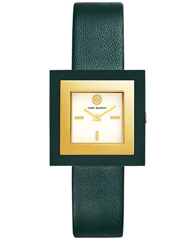 Tory Burch Women's Sedgewick Valley Forge Green Leather Strap Watch 33x33mm