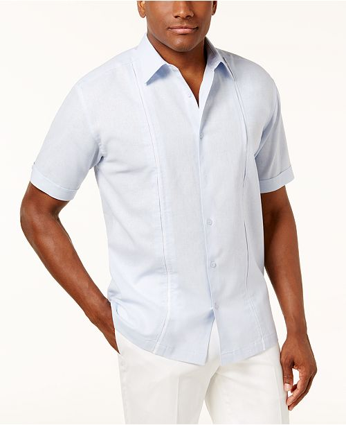 Cubavera Men's Inset Pleated-Panel Shirt