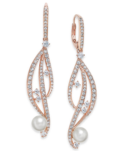 Danori Rose Gold-Tone Imitation Pearl & Pavé Drop Earrings, Created for Macy's