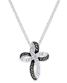 Marcasite (1 ct. t.w.) & Crystal Looped Cross Pendant Necklace in Fine Silver-Plate