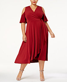 Soprano Trendy Plus Size Cold-Shoulder Dress