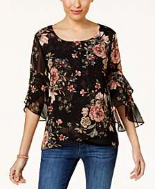 Style & Co Printed Sheer-Sleeve Blouse, Created for Macy's