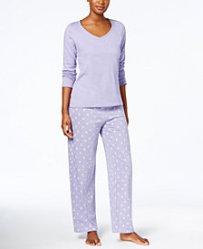 Charter Club Graphic Top & Printed Pants Pajama Set, Created for Macy's