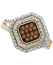 Wrapped in Love™ White and Brown Diamond Ring in 14k Gold (1/2 ct. t.w.), Created for Macy's
