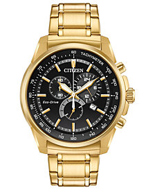Citizen Eco-Drive Men's Gold-Tone Stainless Steel Bracelet Watch 44mm, Created for Macy's