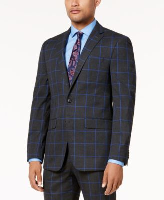 Men's Charcoal Windowpane Slim-Fit Jacket