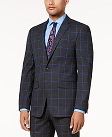Sean John Men's Charcoal Windowpane Slim-Fit Jacket