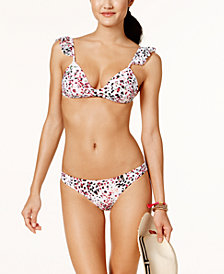 Hula Honey Juniors' Cheetah Swirl Printed Ruffle-Sleeve Push-Up Bikini Top  & Cheeky Bikini Bottoms, Created for Macy's