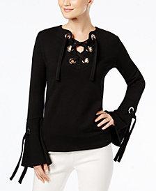 I.N.C. Lace-Up Sweatshirt, Created for Macy's