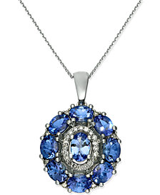Tanzanite (3 ct. t.w.) & Diamond (1/8 ct. t.w.) Pendant Necklace in 14k White Gold