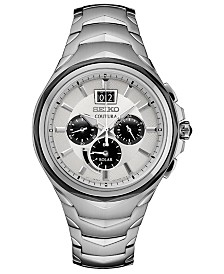 Seiko Men's Solar Chronograph Coutura Stainless Steel Bracelet Watch 46mm
