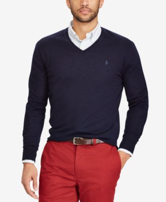 ralph lauren merino wool sweater black and red polo sweater
