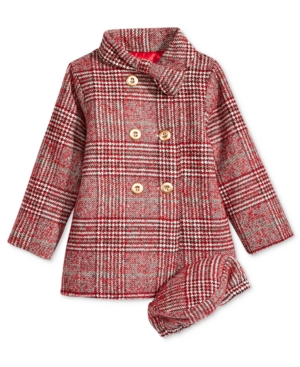 Penelope Mack Plaid BowCollar Coat  Hat Baby Girls (024 months)