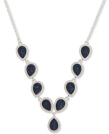 Nine West Silver-Tone Blue Stone Y-Necklace