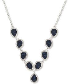 Nine West Silver-Tone Blue Stone Y-Necklace