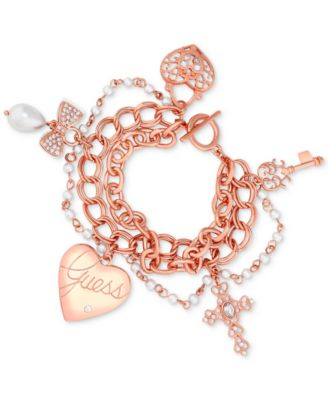 GUESS Rose GoldTone Heart Cross Pav Charm Bracelet Jewelry