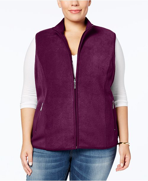 6f754d207dce1 Karen Scott Plus Size Zeroproof Fleece Vest   Reviews - Jackets ...