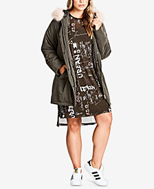 City Chic Trendy Plus Size Pretty Girl Parka