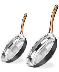 "Cuisinart 9"" & 11"" Onyx Black & Rose Gold Skillet Set, Created for Macy's"