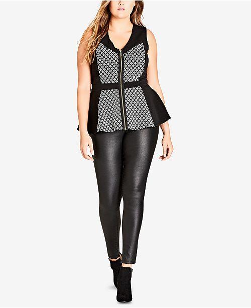 7b9fe5c7c City Chic Trendy Plus Size Zip-Front Knit Peplum Top & Reviews ...