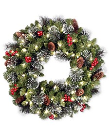 "24"" Crestwood Spruce Wreath With Silver Bristle, Pine Cones, Berries, Glitter & 50 LED Lights"