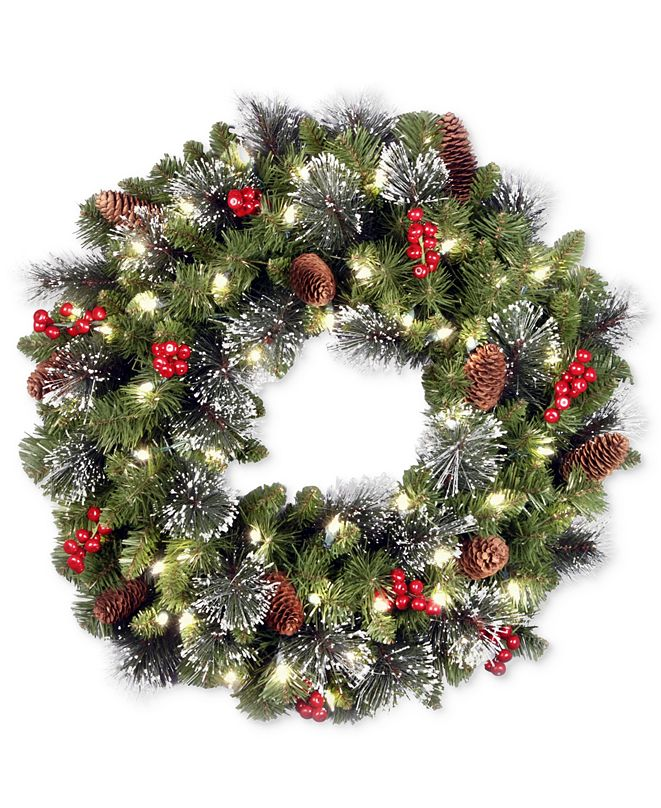 """National Tree Company 24"""" Crestwood Spruce Wreath With Silver Bristle, Pine Cones, Berries, Glitter & 50 LED Lights"""