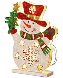 """12"""" Wood-Look Double Sided Snowman With 10 Battery-Operated LED Lights"""