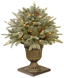 "24"" Feel-Real® Frosted Arctic Spruce Porch Bush With Pine Cones & 50 Clear Lights"