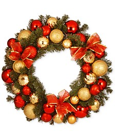 "30"" Gold & Red Mixed Ornament Wreath With Bows"