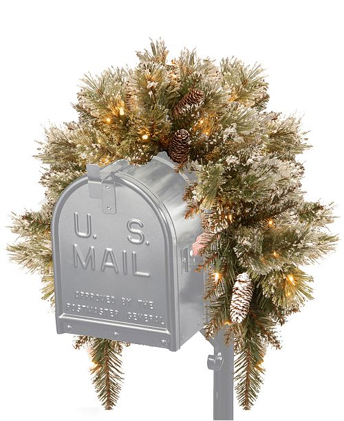 """National Tree Company 24"""" Glittery Bristle Pine Wreath With Pine Cones & 50 Battery-Operated LED Lights"""