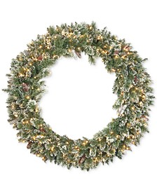 "48"" Glittery Bristle Pine Wreath With White Tipped Cones & 200 Clear Lights"
