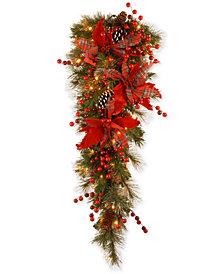 "National Tree Company 36"" Tartan Plaid Teardrop Swag With Poinsettias, Pine Cones, Berries & 50 Battery-Operated LED Lights"