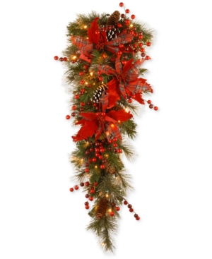 National Tree Company 36 Tartan Plaid Teardrop Swag With Poinsettias Pine Cones Berries  50 BatteryOperated Led Lights