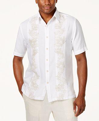Tasso Elba Island Linen Palm Printed Pintucked Shirt, Created for Macy's